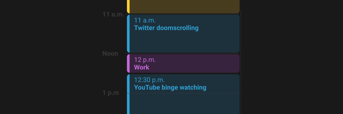 schedule showing a small amount of work scheduled vs procrastination