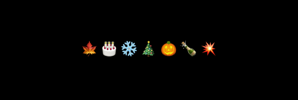 emojis representing different holidays